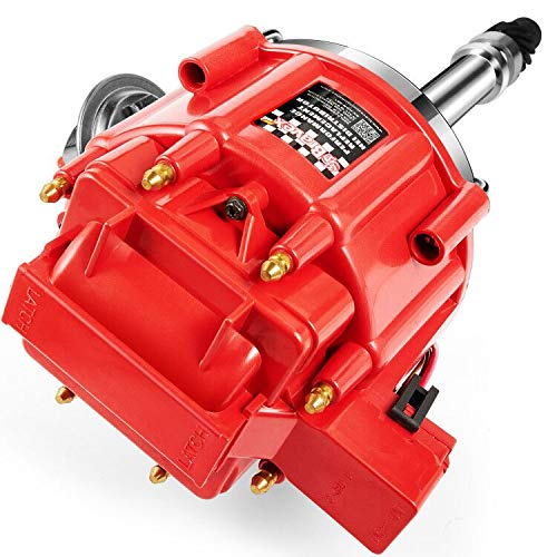 Bravex HEI Distributor High Performance Red Cap for Chevy GM SBC 283 305 307 327 350 400 BBC 454 396 427 Small/Big Block Super 65k Coil 7500RPM (Brass Terminals)