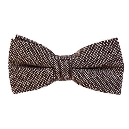 DonDon Herren Fliege 12 x 6 cm Baumwolle gebunden und längenverstellbar beige schwarz