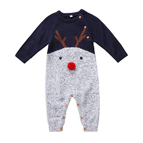 vpuquuz Neugeborenes Dickes Weihnachten Overall Gestrickten Pullover für Kleinkind Baby Junge Mädchen Hirsch Warme Winter Outfits Kleidung Strampler (B, 6-12M)
