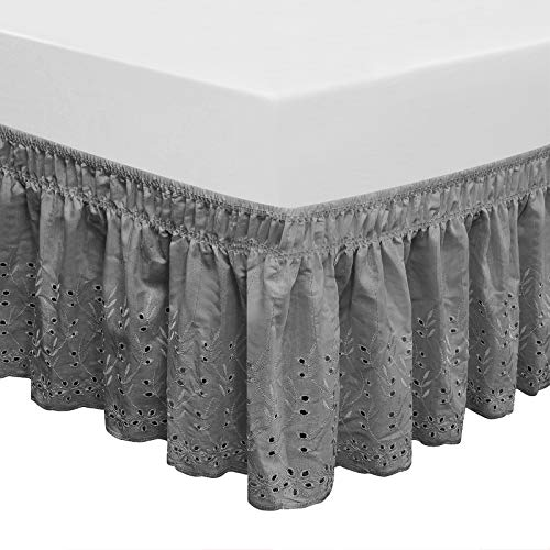 QSY Home Wrap Around Elastic Eyelet Bed Skirts 14 1/2 Inches Drop Dust Ruffle Three Fabric Sides Easy On/Easy Off Adjustable Polyester Cotton (Grey Queen/King)