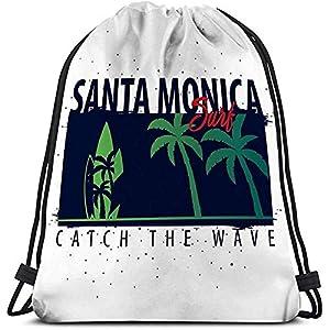 518FbA5 YNL. SS300  - Bolso con cordón Deportivo para Gimnasia Santa Monica Surfing Graphic Palms Print Santa Monica Surfing Graphic Palms…