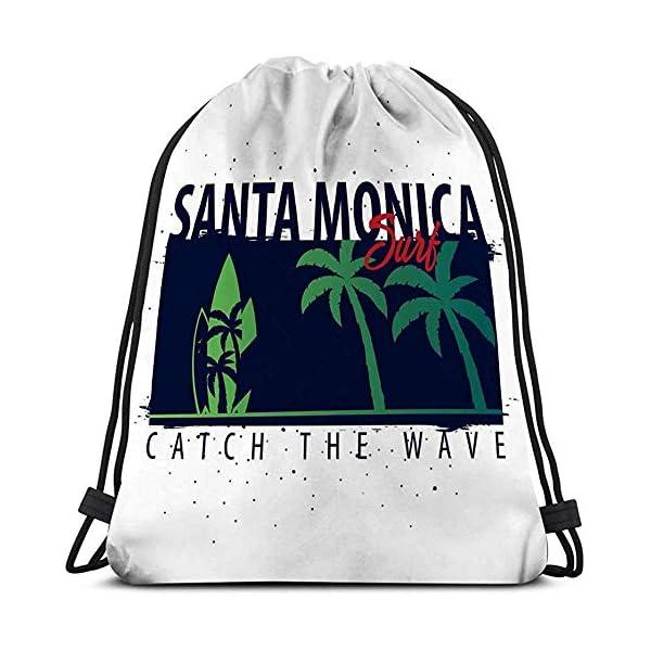 Bolso con cordón Deportivo para Gimnasia Santa Monica Surfing Graphic Palms Print Santa Monica Surfing Graphic Palms…