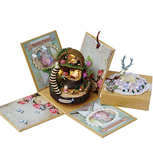Rylai Architecture Model Building Kits with Furniture LED Rotatable Music Box Miniature Wooden...