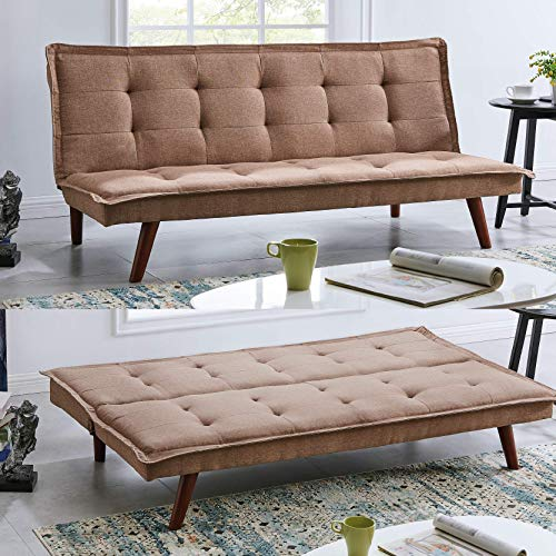 BRAVICH Modern TONI Scandinavian Beige 2/3 Seater Sofa Bed Fabric Couch Settee Click Clack Sofa Bed Recliner Bed Sofa For Living Room Bedroom