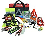 BLIKZONE 82- Pc Auto Roadside Assistance Emergency Essentials Digital Car Kit for Truck & RV with Tire Repair Kit, Jumper Cables, Portable Air Compressor, Tow Strap, Emergency Triangle