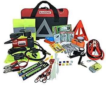 BLIKZONE 82- Pc Auto Roadside Assistance Emergency Essentials Digital Car Kit for Truck & RV with Tire Repair Kit Jumper Cables Portable Air Compressor Tow Strap Emergency Triangle