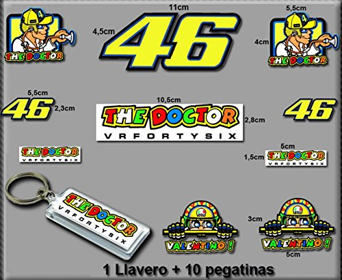 Ecoshirt, S9-GN5E-UD7J, Pegatinas y Llavero 46 Valentino Rossi The Doctor Am10 D Stickers and Key Ring Aufkleber Vinilos Adesivi Decals, Model 5