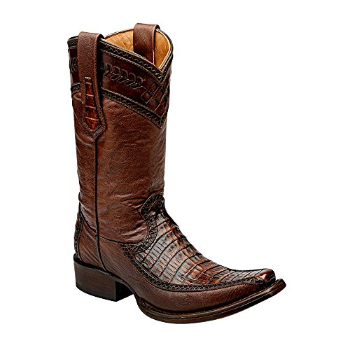 Cuadra Herren Cowboystiefel Westernstiefel Krokodilleder (handgefertigt) 1B38FY, Größe:44, Farbe:Forest Ocre