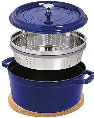 Staub Cocotte/Cocotte Rond avec panier vapeur (26 cm, 5 L, induction, avec mattschwarzer Fonte de l'intérieur du pot) Bleu foncé & Liège magnétique Soucoupe pour pot de fleurs 24 cm