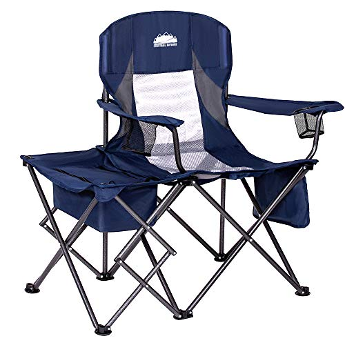 Coastrail Outdoor Folding Camping Chairs with Cooler Table Side Bag, Heavy Duty Steel 300 LBS Capacity for Adults Portable Compact Camp Chair with Cup Holder & Storage, Navy, Navy&Gray, Large