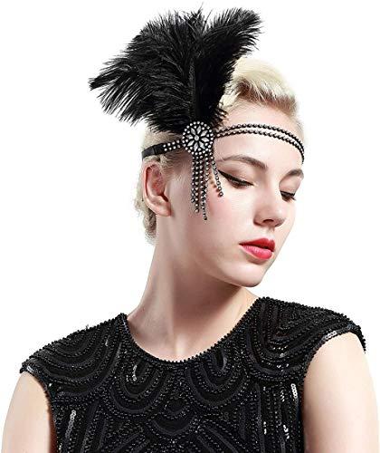 meimie00 1920s voorhoofdband met strass kwasten dames kostuum accessoires jaren 20 flapper veer haarband aanbiedingen bliksemaanbieding F8-zilver