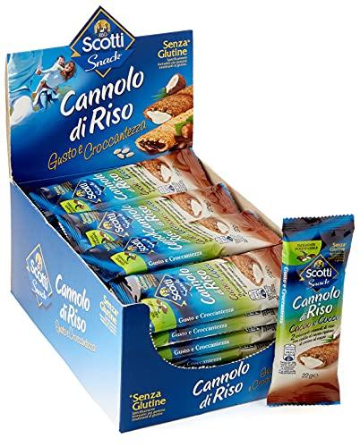 Riso Scotti Snack - Cannolo di Riso Cacao e Cocco - Snack Dolce Senza Glutine - 24 Pezzi