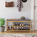 HOMECHO Shoe Rack Bench - (36' Lx11.4 W), Bamboo Entryway Bench, Modern 3 Tier Shoe Rack with Storage and Foam Pad Seat for Hallway Living Room Bedroom Corridor, Natural