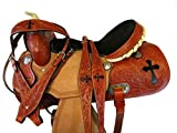 Blue Lake Premium Western Leather Barrel Racing Adult Horse Saddle Tack with Matching Leather Headstall + Breast Collar + Reins | Color : Tortilla Brown | Size 18 Inches Seat Available
