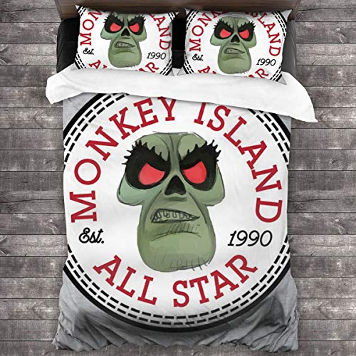 KUKHKU LeChuck Monkey Island All Star 3-teiliges Bettwäsche-Set Bettbezug 218 x 178 cm, Queen dekoratives 3-teiliges Bettwäsche-Set mit 2 Kissenbezügen