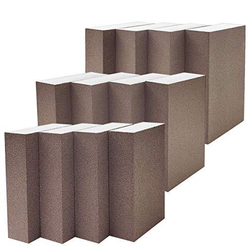 M-jump 12 PCS Sanding Sponge Medium Fine Superfine 3 Different Specifications Assortment Sanding Blocks, Washable and Reusable Sand Sponge Kit (Assortment Grade)