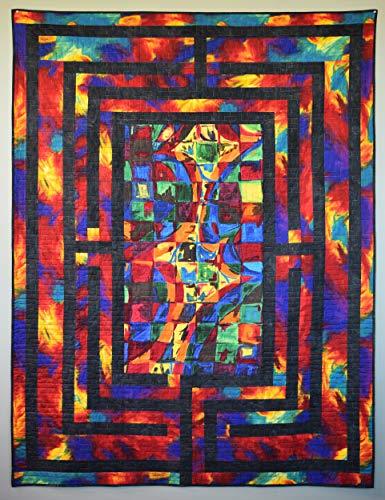 Labyrinth Quilt-Set von Frond Design Studios | Designer Quilting-Stoff | Baumwolle Quilting-Set | Inklusive vorgeschnittenem Quilt-Ober- und Rücken-Stoff | DIY Stoff-Kit | Designer-Muster