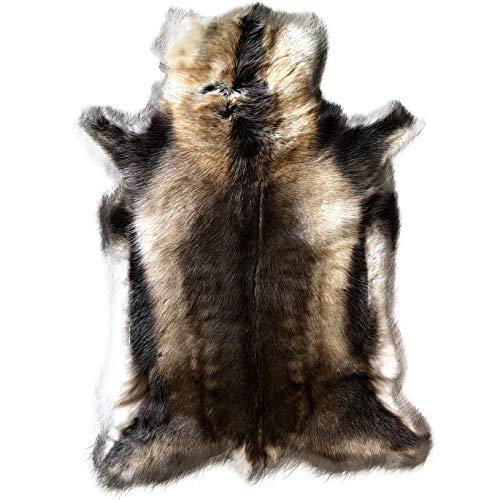Alfombra extragrande de piel de renos en colores naturales, acabado a mano, 135 cm x 100 cm