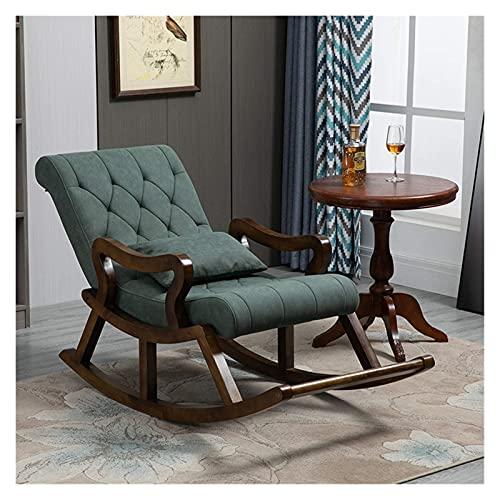 KUYH Silla mecedora para sala de estar, silla mecedora de madera maciza, cómoda silla de hombre viejo de tela técnica, silla reclinable de sofá de balcón, con reposapiés