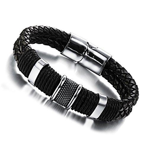 Jstyle Schmuck Flechten Armbänder Lederarmband Herren Damenarmband für Herrenarmband Schwarz Männer Lederarmband mit Verschluss aus Edelstahl 22cm