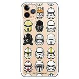 Funda para iPhone 11 Pro MAX Oficial de Star Wars Patrón Cascos para Proteger tu móvil. Carcasa para Apple de Silicona Flexible con Licencia Oficial de Star Wars.