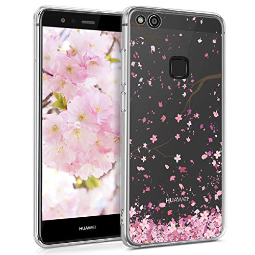 kwmobile Huawei P10 Lite Hülle - Handyhülle für Huawei P10 Lite - Handy Case in Kirschblütenblätter Design Rosa Dunkelbraun Transparent