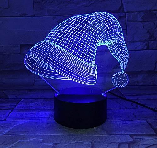 Touch und App Dual Control Weihnachtsmütze 3D Lampe 7 Farben LED Nachtlampen für Kinder Touch Led USB Tisch Lampara Lampe Baby Schlaf Nachtlicht LED USB Licht