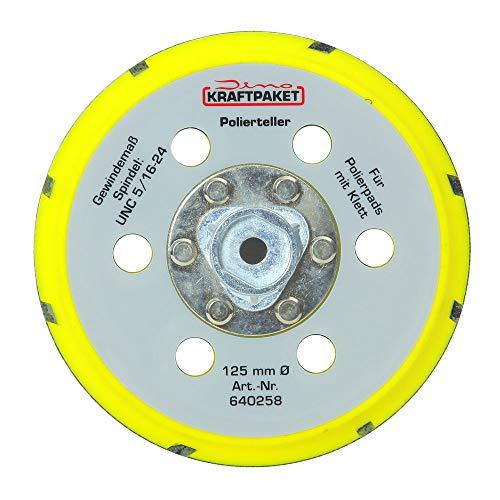 Dino KRAFTPAKET 640258 125mm-Stützteller-M8 mit Klett Polierteller für Exzenter Poliermaschine 950W-21/15mm, 900W-21/15/9mm Hub, Gelb