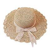 LOPILY Sombrero de Playa Gorra de Sol de ala Ancha Verano Sombrero de Sol Plegable Casquillo al Aire Libre Suave Transpirable Sombrero de Paja Bowknot Accesorios para Mujer y niña(Beige)