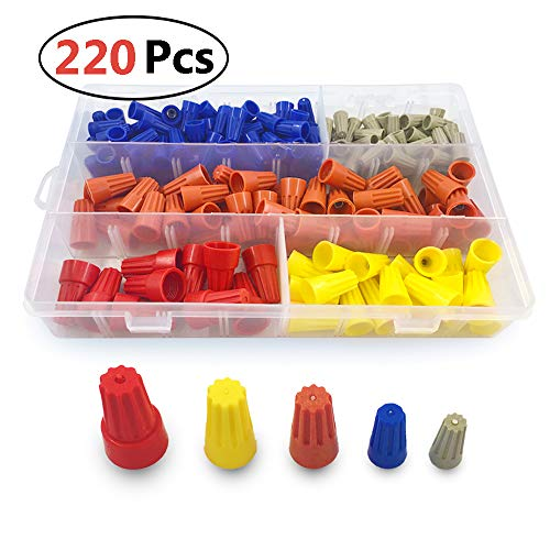 (220 Pcs) MCIGICM Electrical Wire connectors Screw Terminals Assortment, Wire Nuts Spring Insert Twist Caps Connection, AWG 22-10