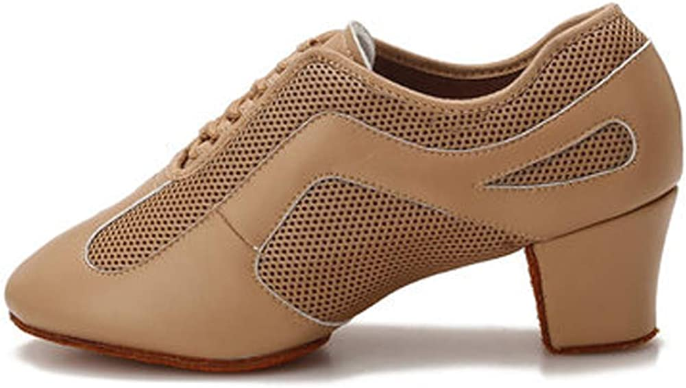 HIPPOSEUS Women's Lace-up Practice Dance Shoes with Chunky Heel