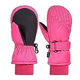 Andake Kinderhandschuhe, 3M Thinsulate Warme Winterhandschuhe Wasserdicht Winddicht Handschuhe fr Skifahren, Spielen, Outdoor-Aktivitten (Jungen und Mdchen, Pink-M)