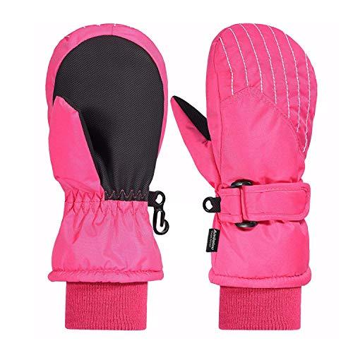 Andake Guanti Sci Bambini, 2-7 Anni Ragazzi e Ragazze 3M Thinsulate Caldo Impermeabile A Prova di Vento Traspirante Termico Guanti Bambini per Sport Invernali all'aperto - Rosa