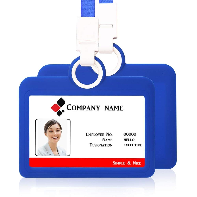 IDバッジホルダー IDバッジカードホルダー 水平 ストラップ付き シリコンネックストラップ 高耐久IDカード 名刺 オフィス用品 (ブルー)