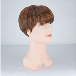Cosplay Party Wig Dress Mens Cosplay Wig Short Bob Straight Hair Wig for,Hairpieces (Color : Brown)