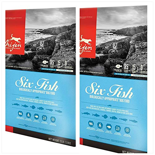 Orijen 2 Pack Six Fish Formula Dry Dog Food 13 lbs. Ea 2 Bags = 26 Pounds Total.