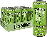 Monster Energy Bevanda Energetica - Lattina, 500 ml, Monster Energy Drink 500 ml (Ultra Paradise Zero Zuccheri, 12 Lattine)