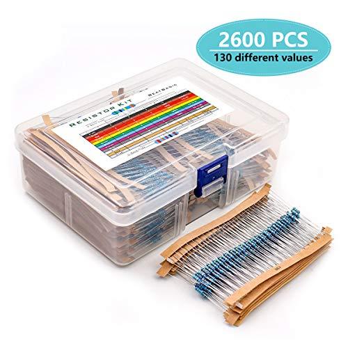YunTech Widerstände Sortiment Kit 2600pcs 130 verschiedenen Werten, 1/4W 1% Metallfilm 1hm -3M Ohm Metallfilm widerständen Sortiment, Genug für Ihr DIY-Projekt und Ihre Experimente