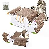 Cat Scratch Pad, 3-in-1 Cardboard Cat Scratcher, Cute Cat Scratchers for Indoor Cats/Kitten, Catnip Included