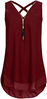 MRULIC Women's Loose Chiffon Tank Top Cross Back Hem Zip T-Shirts Tops