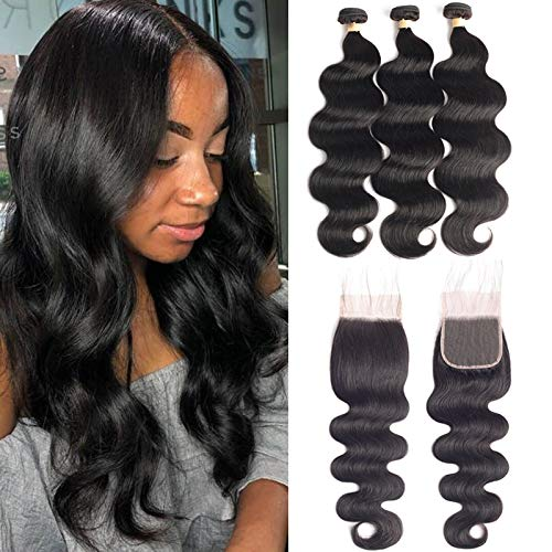 Body Wave 3 Bundles with Lace Closure 22 24 26+20 Long Wavy Weft Brazilian Virgin Real Human Hair Extensions Natural Color 4 4 Closure with Human Hair Bundles