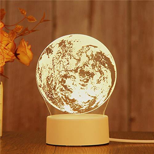 Lampe Illusion optique 3D Lampe Illusion de nuit Lampe de table alimentée par USB Matériau acrylique Panneau ABS Base pour décoration de table et décoration de nuit, Lune, Couleur chaude USB Lumière