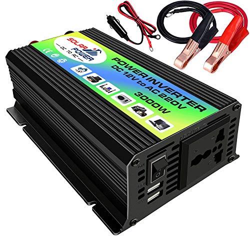 Inverter a Onda sinusoidale modificata,Potenza di Picco 3000 W Inverter a Onda sinusoidale modificata Inverter di Potenza ad Alta frequenza Convertitore da CC 12V a CA 220 V Inverter caricabatteria