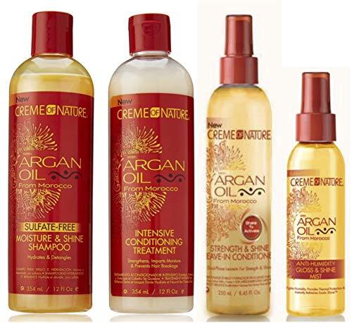 Crème Of Nature | 4er-Set mit Arganöl | Shampoo ohne Sulfate, 354 ml | Intensive Spülung, 354 ml | Leave-In-Spülung, 250 ml | Glanzspray bei hoher Luftfeuchtigkeit, 119 ml
