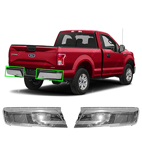 MBI AUTO - Chrome Steel, Left & Right Rear Bumper Ends (2 Piece Set) for 2015 2016 2017 2018 2019 Ford F150 Pickup, FO1102380