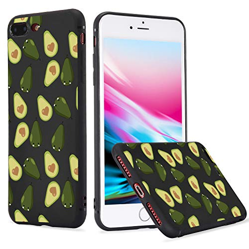 LuGeKe Fruit Avocado Print TPU Phone Case for iPhone Xs Max Quality Flexible Pear Pattern Black Cover Case Durable and Comfortable