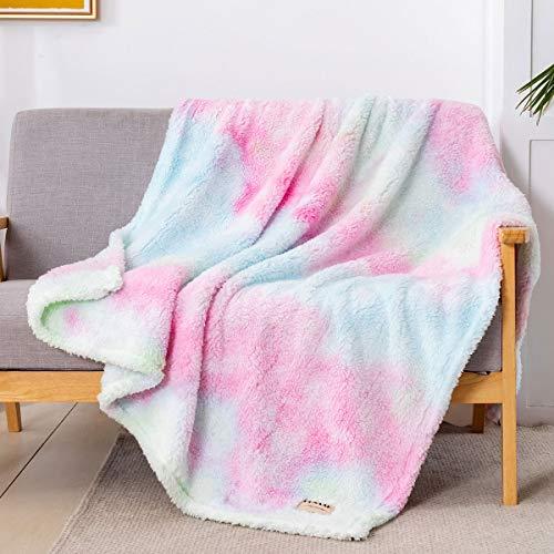 "GONAAP Sherpa Throw Blanket Cozy Fluffy Warm Microfiber Fleece Shaggy Lightweight Teddy Plush for Coach Sofa Travel Outdoor Camping Tie dye Rainbow 50""X60"""