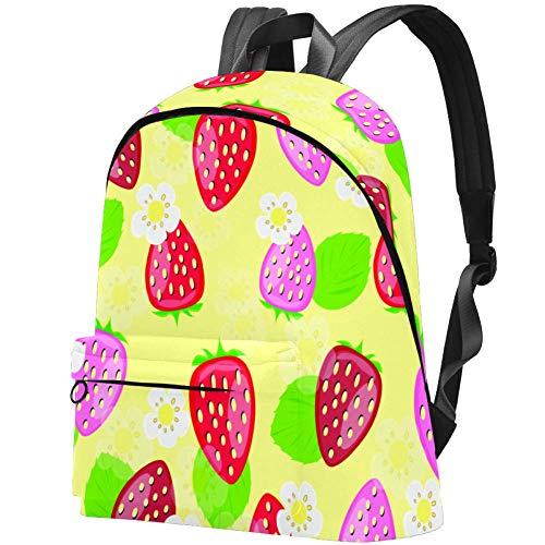 Süßer Rucksack für Teenager, Mädchen, mit Eichhörnchen-Motiv, Schulranzen, Hochschulbücher, Teenager Süße Erdbeere 17.3x13.7x5.5 in