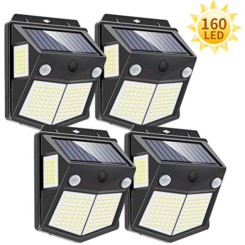 Luz Solar Exterior 160 LED, Mewtwo Focos Led Exterior Solares con Sensor de Movimiento Impermeable Ángulo 270º de Iluminación Luces Solares Led Exterior Jardin 4-Paquete 【Actualizada 1000 Lumens】