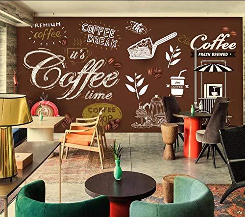 3D fotobehang wandafbeelding wandafbeelding koffie woonkamer TV sofa achtergrond behang moderne wooncultuur 400 x 280 cm